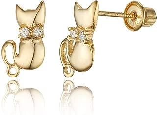 14k Yellow Gold Cat Cubic Zirconia Children Screwback Baby Girls Stud Earrings