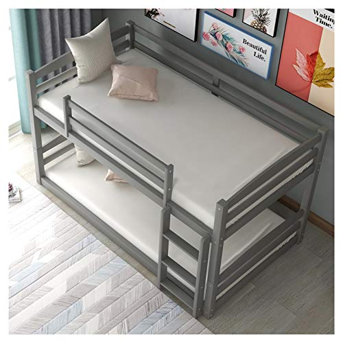 Pine Wood+MDF Twin Over Twin Bunk Bed -Separable -Detachable Guardrails Included/Built-in Ladder Included Suitable for Family Bedroom or Apartment Dormitory No Need for Spring Box-Easy Assembly