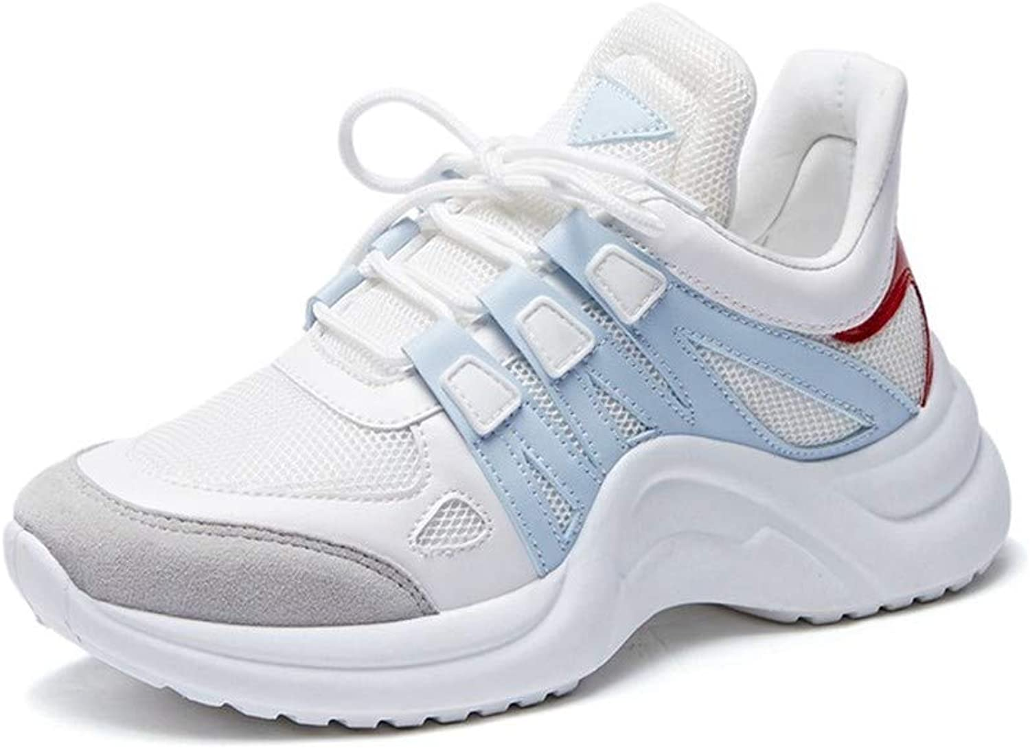 Sodef Woman's Fashion Running Sneakers,Girl Casual Flat Round Toe Breathable Lace-up Sport shoes Small White shoes