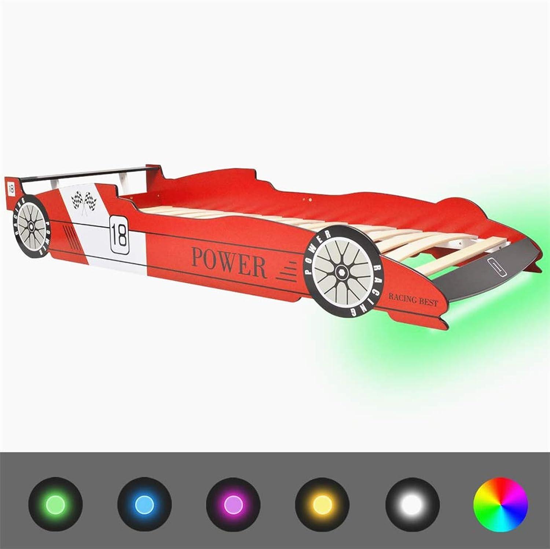BIGTO Car Beds for Kids MDF Frame + Wooden Slats Kids Beds 90x200 cm (Red-LED)