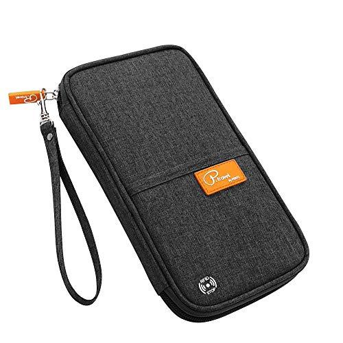 Reisepass Tasche, laxikoo Reisepasshülle mit RFID Blockier Familien Reisebrieftasche Wasserabweisende Ausweistasche Reiseorganizer Travel Wallet Organizer für Damen/Herren (Schwarz)