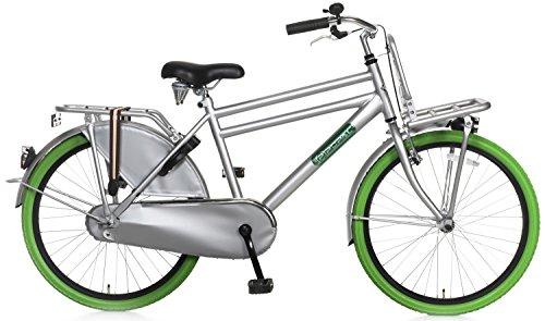 Kinderfiets Popal Daily Dutch Basic 24 inch, rem op het stuur en achtertrap, bagagedrager met LED-koplamp en hangslot groen grijs 95% gemonteerd