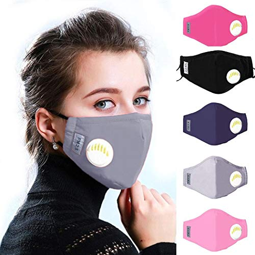 kaimu Dust Mask PM2.5 Activated Carbon Filter Adult Children Masks with Valve Adult Helmets Protective Mask Face Cover