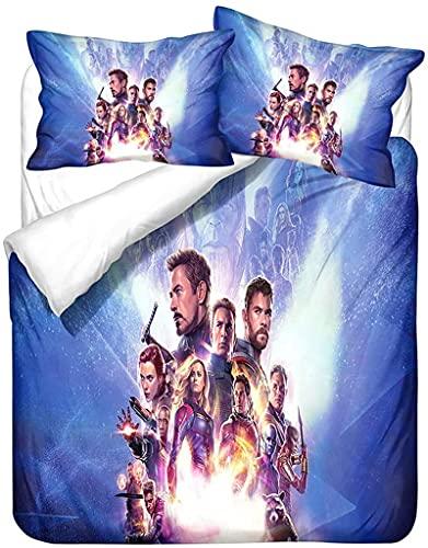 Batte - Set di biancheria da letto Marvel Avengers Héros, copripiumino in microfibra Iron Man Spiderman, stampa digitale 3D, universale in tutte le stagioni (J,140 × 210 cm)