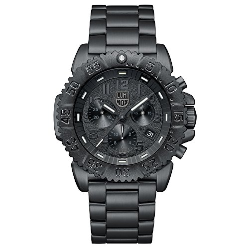 Luminox Navy Seal Steel Colormark Chronograph 3180 Series Wrist Watch Black, White Dial Steel Bracelet Black XS.3182.BO.L