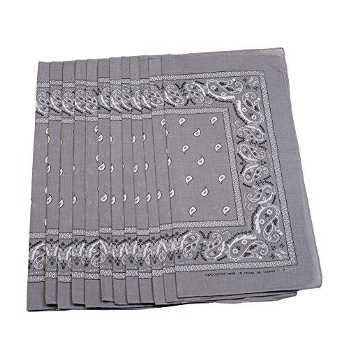 Paisley & Graphic Design Bandana Scarf 12-Pack, (Gray - 100% Cotton)