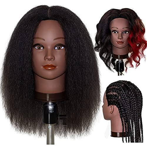 "MILLYSHINE Mannequin Head 100% Real Human Hair 16"", Braiding Styling Doll Head ,Beauty School Manikin Head,Curling Dyeing Hairdresser Practice Training Head"