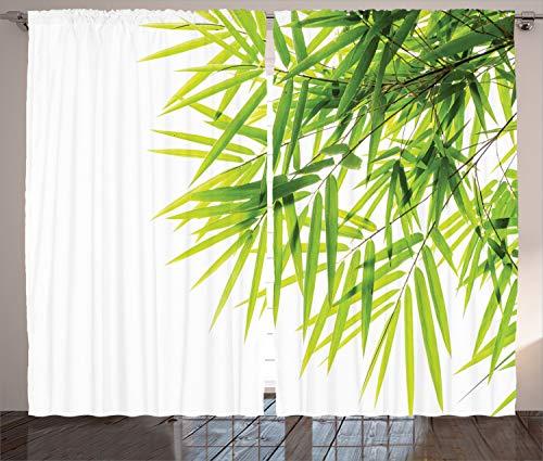 ABAKUHAUS Bambú Cortinas, Paz de la Hoja de bambú, Sala de Estar Dormitorio Cortinas Ventana Set de Dos Paños, 280 x 225 cm, Verde Blanco