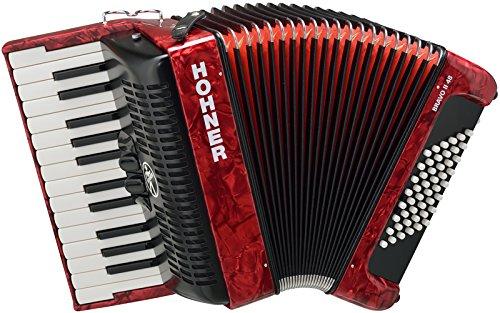 Hohner Bravo III 48Acordeón Rojo (Piano, Acordeón de 48bajos, de 2chöre, 2separadores, incluye correa, funda,)