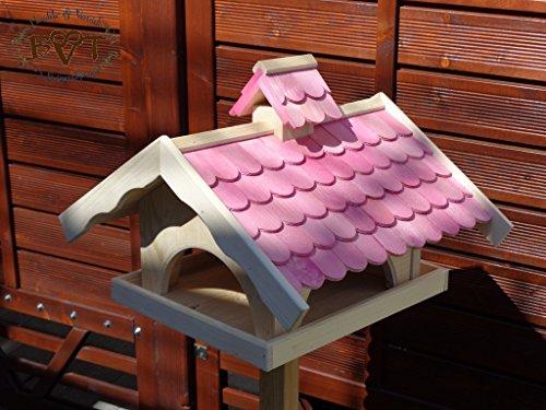 Vogelhaus,groß,mit Nistkasten,BEL-X-VONI5-pink002 Großes wetterfestes PREMIUM Vogelhaus VOGELFUTTERHAUS + Nistkasten 100% KOMBI MIT NISTHILFE für Vögel WETTERFEST, QUALITÄTS-SCHREINERARBEIT-aus 100% Vollholz, Holz Futterhaus für Vögel, MIT FUTTERSCHACHT Futtervorrat, Vogelfutter-Station Farbe pink rosa rosarot süß, MIT TIEFEM WETTERSCHUTZ-DACH für trockenes Futter - 2
