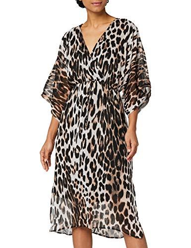 Marchio Amazon - Truth & Fable Vestito con Maniche a Kimono Donna, Marrone (MULTICOLOUR...