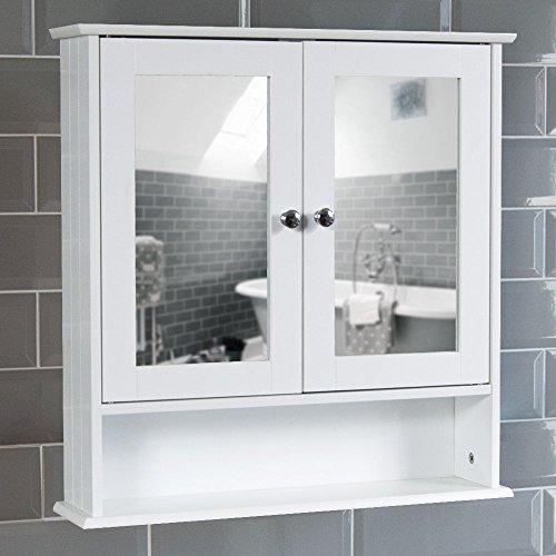Bath Vida Priano Zweitüriger Badspiegelschrank mit Regal, Weiß