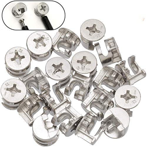 PAGOW 20 Count.Furniture Cam Lock Fasteners, 0.59X0.49 inch for Furniture Construction Sanity, Fittings Cabinet Drawer Dresser Wardrobe Furniture Panel Connecting, Joint Connector Nut