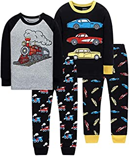 Image of 2 Pack Cotton Black Long Sleeve Train and Cars Pajamas for Boys