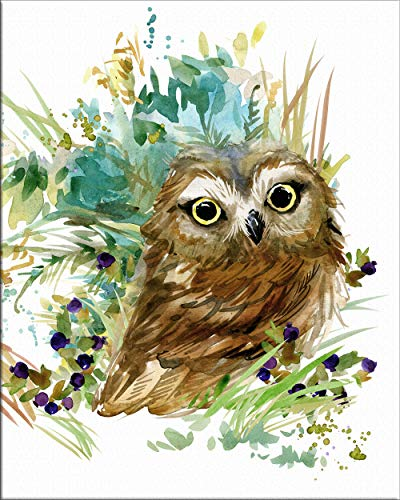 7Dots Art. Cute Baby Animals. Watercolor Art Print, Poster 8'x10' on Fine Art Thick Watercolor (Aquarelle) Paper for Children's Room, Bedroom, playroom, Bathroom. (Baby Owl)