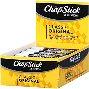 ChapStick Classic (1 Box of 12 Sticks, 12 Total Sticks, Original Flavor) Skin Protectant Flavored Lip Balm Tube, 0.15 Ounce Each, 12 Count (Pack of 1)