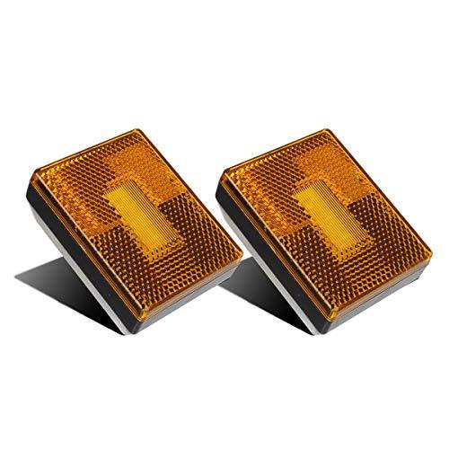 Partsam (2) Amber 3 LED Square Stud Mount Clearance Side Marker Lights Trailer Camper w reflex, 12v Led Truck Trailer Reflective Rectangular Side Clearance Marker Lights with Reflex Reflector