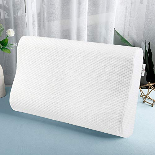 """Power of Nature Memory Foam Bed Pillows- Ergonomic Cervical Orthopedic Sleeping Pillow for Adults Kids- Prevents Back Neck Pain-Soft Removable Washable Pillow Cover (23.62""""x 13.78"""")"""