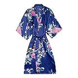 Kimono Yukata Style Japonais Robe CourteFemme Sommeil Nuit Porter Robe De Bain Pyjama En Soie Chinoise Orientale, Marine, L