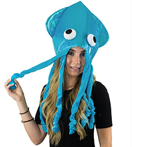 Squid Hat - Funny Fun and Crazy Hats in Many Styles - Funny Party Hats (Shiny Blue Squid Hat)
