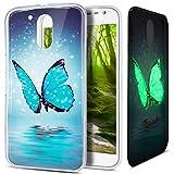 Funda Motorola Moto G4,Funda Motorola Moto G4 Plus,Patrón pintado colorido del arte Luminoso Flexible TPU Silicona Fundas Skin Cover Carcasa Funda Case para Motorola MOTO G4/G4 Plus,Mariposa azul