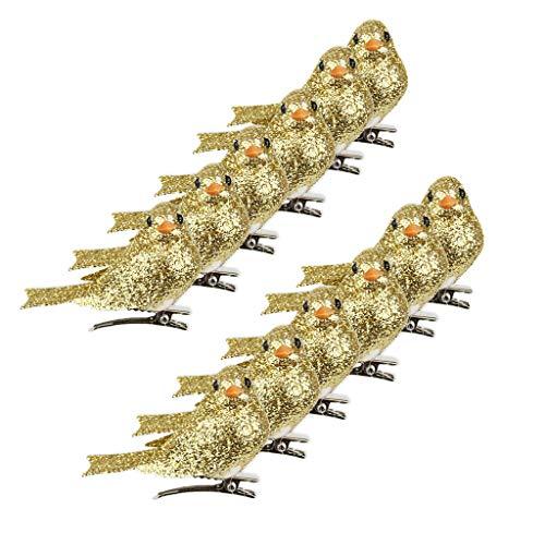 FLAMEER 12er/Pack Deko Vögel Dekovögel Dekovogel Kunstvogel Baumschmuck mit Clip Ornamente Zuhause Party Dekoration - Gold