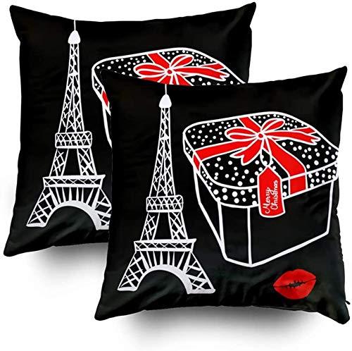 Funda de almohada tamaño estándar, caja de regalo de dibujo blanco con un lazo rojo Merry Christmas París Torre Eiffel Vector ilustración sobre fondo negro, juego de 2 fundas de almohada