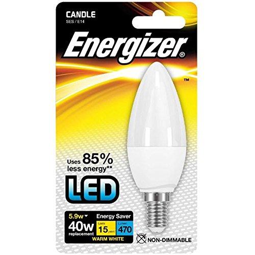 Energizer 8700 LED Bougie Lampe E14 5,9W translucide en Chaud Blanc dans Blister, 5 W