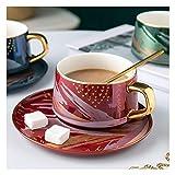 FXJ Tazze di caffè Coffee Mug Cup, Ceramica Creativa Tazza di caffè con piattino e Cucchiaio Set Colazione China Cup Britannica Tazza di tè della Tazza del Latte for la casa/Cucina/Parlour Home Decor