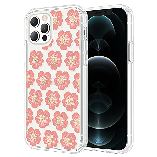 Maxdara Glitter Case for iPhone 12 Pro Max Clear Case with Floral Design Girls Women Bling Sparkle Rhinestone Diamond Flower Hard Protective Case for iPhone 12 Pro Max 6.7 inch, (Blossom/Pink)