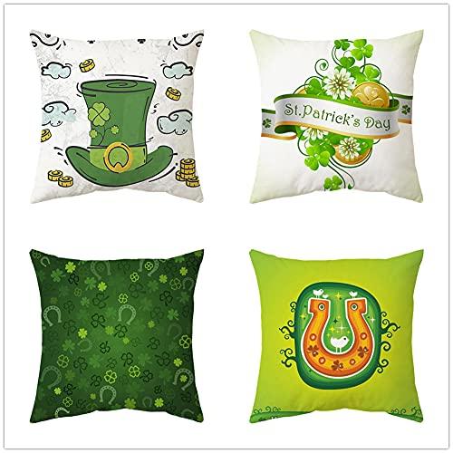 4 Pack Funda de Cojín,60x60cm/24x24in Sombrero de hierba verde Algodón Lino Cuadrada Funda de Almohada para Cojín,con Cremallera Invisible Cushion Cover,para Living Room Sofa Fundas Cojines Decor Z756