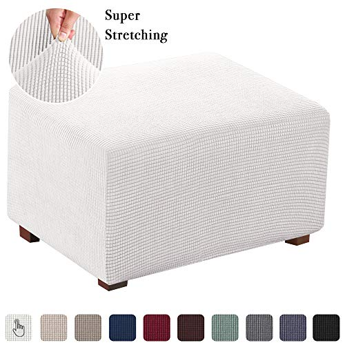 Stretch Fabric Rectangle Folding Storage Stool Ottoman Cover Footrest Sofa Slipcovers Footstool Protector Covers (X-Large, Off White)