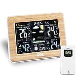 ADE Wetterstation WS1703 mit Funk und Außensensor. Digitale Profi Funkwetterstation aus echtem Bambus. Für präzise Vorhersage, Anzeige Innen- und Außen-Temperatur, Hygrometer. Großes LED Farbdisplay