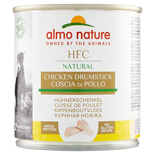 Almo Nature Comida Húmeda Natural Muslo de Pollo (12 latas x 280 g). Alimento para Perros Monoproteíco Enlatado HFC Cuisine. Snack Complementario sin Gluten, 3360 ✅