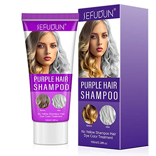 Purple Hair Shampoo, No Yellow Shampoo Hair Dye Color Treatment for Blonde Bleached Neutralize Brassy Tones Keep Silver Ash-grey Highlighted Natural Hair