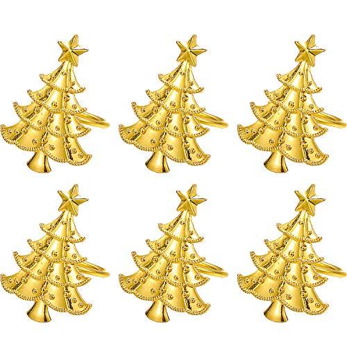 Jsdoin 6 x Serviettenringe aus Metall für Weihnachten, Serviettenring, Abdeckung für Handtuch, Servietten, Verkleidung, Ring, Serviette, Metalllegierung, Serviettenschnalle