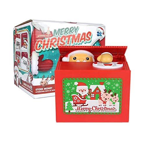 Molie Innovative Piggy Bank Monedas automáticas de robo Centavos Penny Christmas Gift Monedas eléctricas para niños Piggy Bank Santa Claus Toy con movimientos realistas Money Box