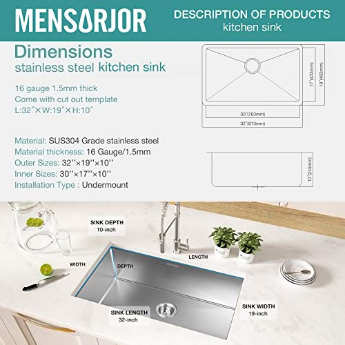Kitchen Sink, MENSARJOR 32'' x 19'' Undermount Single Bowl 16 Gauge Stainless Steel Kitchen Sink with accessories