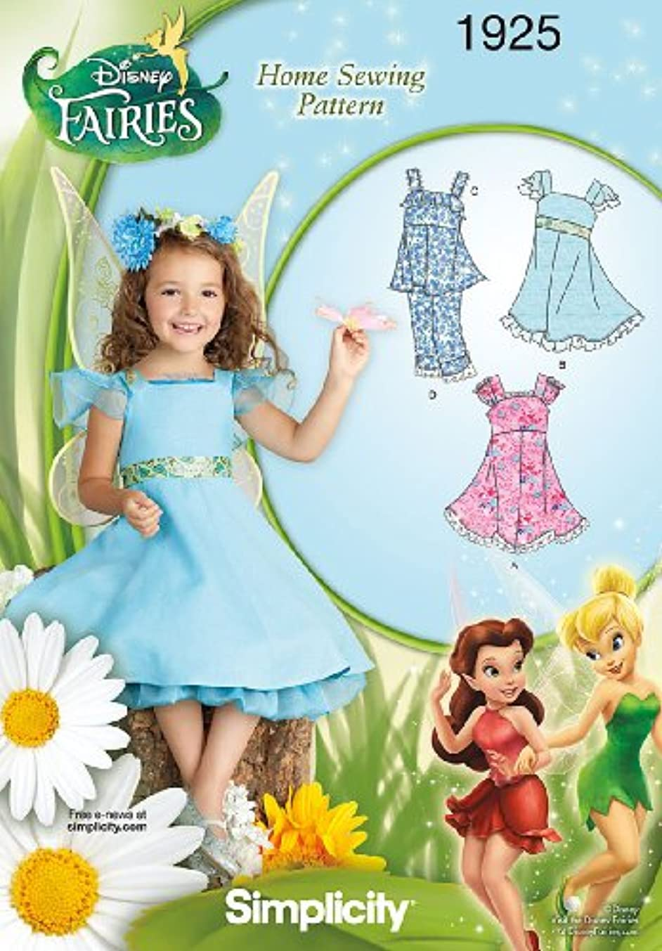 Simplicity Sewing Pattern 1925 Child's Dresses Disney Fairies, Size A (3-4-5-6-7-8)