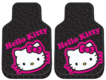 LA Auto Gear Hello Kitty Collage Hot Pink Sanrio Car Truck SUV Front Seat Rubber Floor Mats - Pair