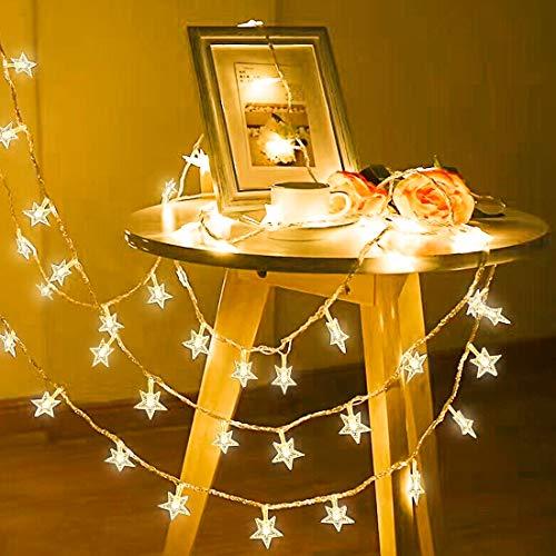 Lichterkette, 50 LED Stern Lichtervorhang batteriebetrieben, 5.5M Wasserdicht Dekorative Lichterkette mit 2 Modi Dimmbar für Außen Innen Weihnachtsdeko Kinderzimmer Schlafzimmer Party, Warmweiß