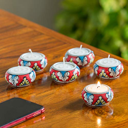 ExclusiveLane 'Shimmering Mughals Floral Hand-Painted Ceramic Tea-Light Holders (Set of 6) - Tealight Candle Holder for Home Décor Votive Tealight Holder T Lite Candle Stand for Home Decoration