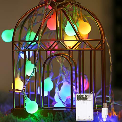 Fulighture LED Kugel Lichterkette,5M(16.41FT) 40er Globe LED mit Batteriebetrieben und USB-Port Stromversorgung,Bunt,IP65 Wasserdicht,Lichterkette für Garten Hochzeit Balkon Deko