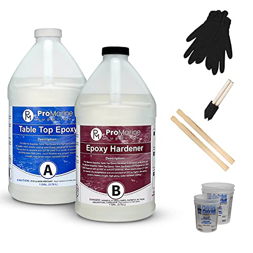 Pro Marine Supplies Crystal Clear Table Top Epoxy Resin & Hardener (2-Part 2 Gallon Combined Kit) with Cups, Brushes, Gloves, Sticks | UV-Resistant Gloss Coating for DIY Bar, Countertops, Woodworking