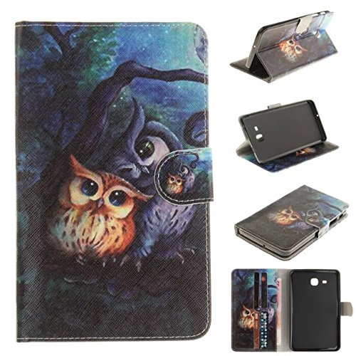 Skytar Samsung Galaxy Tab A6 7.0 Schutzhülle,Folio Hülle Cover mit Support-Funktion PU Leder Hülle für Samsung Galaxy Tab A6 7.0 Zoll 2016 (SM-T280N / SM-T285N) Tablet,Rote Federn,Malerei-Eule