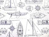 RUGGED BEAR Kids Cotton White Navy Blue Nautical Sail Boats Sheet Set - Twin