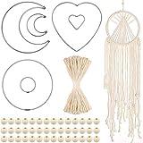 Syhood Set de Cuerda y Anillo de Macramé de 107 Piezas 6 Anillos de Atrapasueños de Círculo Luna Corazón con Cordón Macramé de 50 Yardas 100 Cuentas de Madera para DIY Atrapasueños (Cuerda Beige)