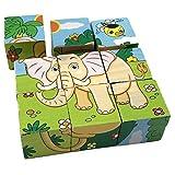 PROW 3D Animales de Madera Cubic Puzzle 6 Patrones León Cebra Elefante Rinoceronte Tigre Conejo Seguro de Madera de formación imaginación Rompecabezas niños Juguete Bebé