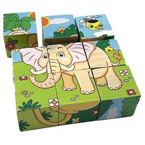 PROW® 3D Animales de Madera Cubic Puzzle 6 Patrones León Cebra Elefante Rinoceronte Tigre Conejo Seguro de Madera de formación imaginación Rompecabezas niños Juguete Bebé