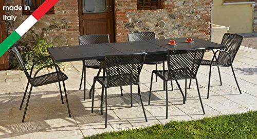 RD ITALIA Ensemble Table Extensible été L avec 6 chaises métal pour extérieur Jardin terrasse Balcon